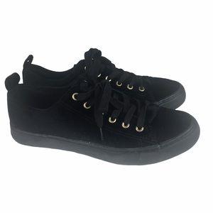 Twisted Black Velvet Fashion Sneaker Sz 9